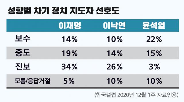 성향별 차기 장치 지도자 선호도. / 자료제공=한국갤럽