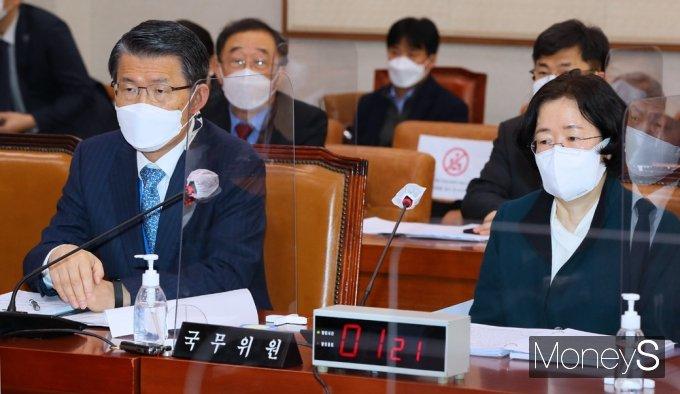 [머니S포토] '경제 3법' 안건 관련 법사위 출석한 은성수-조성욱
