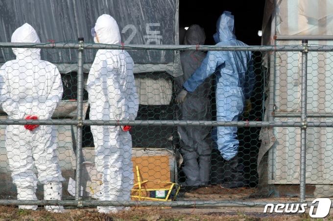 지난 8일 오후 전남 나주시 세지면의 한 육용오리 농장에서 방역당국이 살처분 준비 작업을 벌이고 있다. /사진=뉴스1