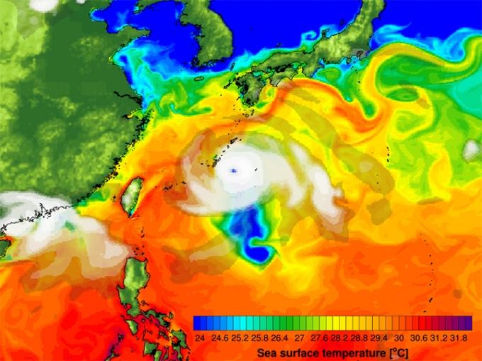열대저기압에 동반된 강한 바람에 의해 발생하는 해수 냉각효과. /사진제공=기초과학연구원.
