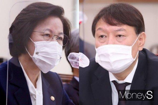 추미애(왼쪽) 법무부 장관이 윤석열 검찰총장 징계가 재가된 뒤 사의를 표명했다. /사진=장동규, 임한별 기자