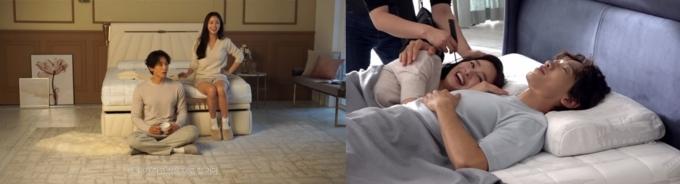 지난 6일 바디프랜드컴퍼니가 유튜브에 공개한 김태희·비 부부의 TV CF 촬영 메이킹 영상에서 두 사람은 애정 넘치는 모습을 보여줬다. /사진='바디프랜드컴퍼니' 유튜브 채널 캡처