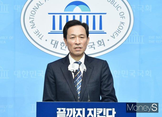우상호 의원은 13일 서울 여의도 국회 소통관에서 '살고싶고, 살기쉬운 서울을 만들겠습니다!' 2차 부동산정책을 발표했다. 우 의원은 지난 12일엔 공공주택 16만가구 공급을 발표했다. /사진=임한별 기자