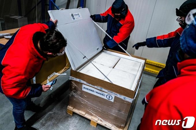 네덜란드 노르트브라반트주 오스에 배송된 모더나의 코로나19 백신 © AFP=뉴스1