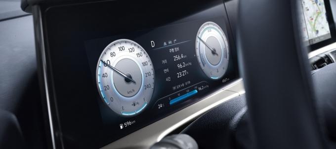 기존 모델보다 3.25인치 넓어진 10.25인치 크기의 클러스터는 운전자 시인성을 높이고 노멀, 에코, 에코+ 주행 모드별로 다양한 색상의 그래픽이 적용됐다. /사진제공=현대차
