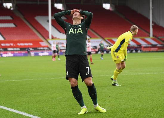 토트넘 홋스퍼 공격수 손흥민이 17일(현지시간) 영국 셰필드의 브레몰 레인에서 열린 2020-2021 잉글랜드 프리미어리그 19라운드 셰필드 유나이티드전에서 득점 기회를 놓친 뒤 아쉬워하고 있다. /사진=로이터