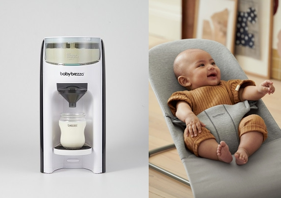 '자동 분유 제조기'(왼쪽)는 이용자들 사이에서 부모를 '우유 타기 전쟁'에서 해방시켰다는 평가다. '바운서'의 경우 '등센서'가 달린 아기를 온종일 안고 있지 않아도 되는 신세계를 열었다. /사진=베이비 브레짜, 베이비뵨 제공