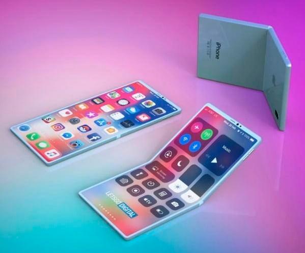 삼성전자에 이어 애플도 폴더블폰을 제작 중인 것으로 알려졌다. 사진은 애플의 폴더블 아이폰의 렌더링 이미지. /사진제공=렛츠고디지털