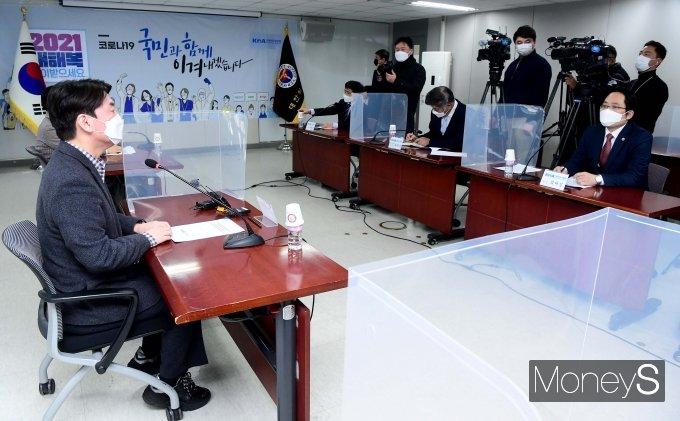 [머니S포토] 최대집 의협회장 만난 안철수 대표