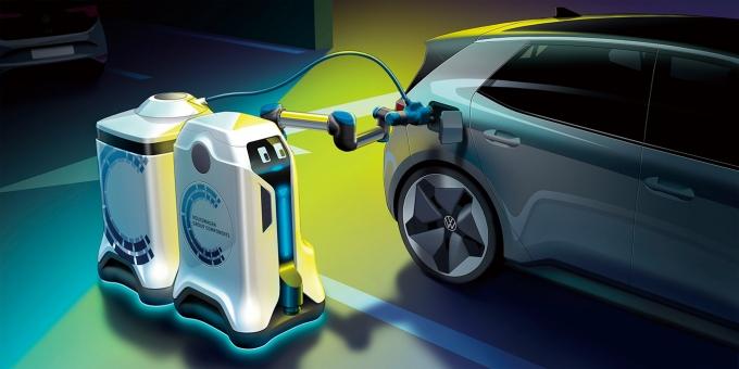 차세대 배터리로는 기존 배터리의 에너지 밀도를 높인 것 외에도 소재나 구조 자체를 바꾼 전고체 배터리와 리튬황 배터리 등이 주목받고 있으며 새로운 충전방식도 관심을 모은다. 사진은 폭스바겐 전기차 충전 로봇. /사진제공=폭스바겐