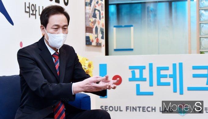 [머니S포토] 서울 핀테크랩 방문 소감 전하는 우상호 의원