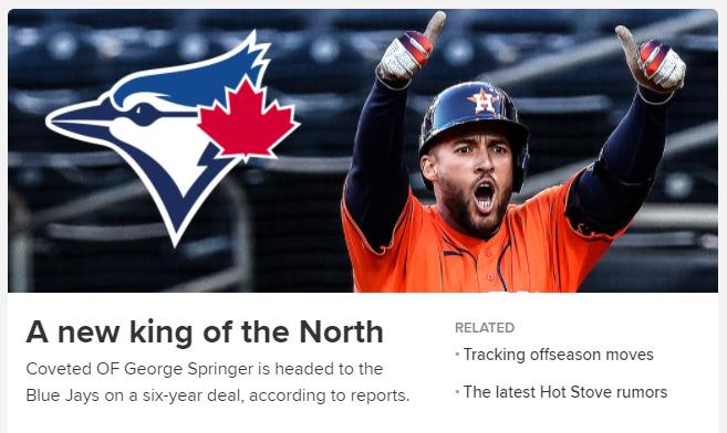 MLB 외야수 조지 스프링어와 토론토 블루제이스 구단의 계약 소식을 전하는 MLB.com의 보도 화면. /사진=MLB.com 캡처