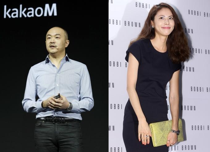 조수용(왼쪽) 카카오 대표와 결혼한 가수 박지윤이 임신 7개월차로 2세와의 만남을 기다리고 있다는 보도가 나왔다. /사진=뉴스1