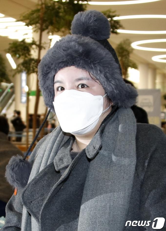 방송인 에이미가 20일 인천국제공항을 통해 중국 광저우에서 입국하고 있다 . 2021.1.20/뉴스1 © News1 권현진 기자