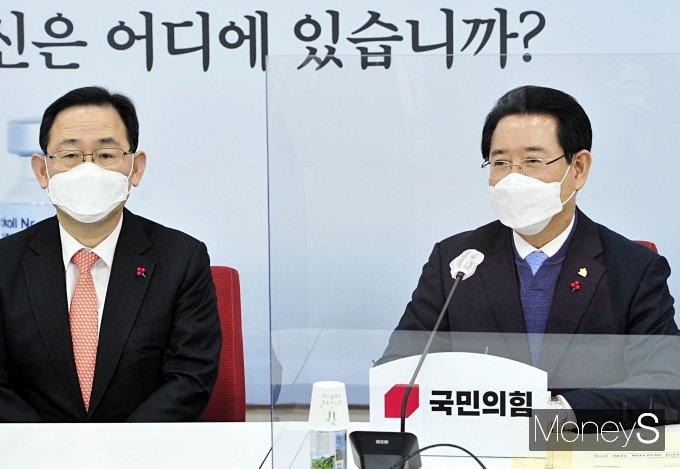 [머니S포토] 환담 나누는 주호영 원내대표와 김영록 도지사