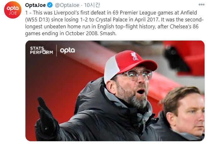 리버풀은 22일(한국시간) 열린 번리전으로 인해 지난 2017년 4월 이후 처음으로 프리미어리그 홈경기에서 패배를 당했다. /사진=옵타 트위터 캡처