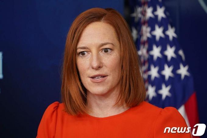 젠 사키 백악관 대변인이 21일(현지시간) 워싱턴 백악관에서 일일 브리핑을 하고 있다. © AFP=뉴스1 © News1 우동명 기자