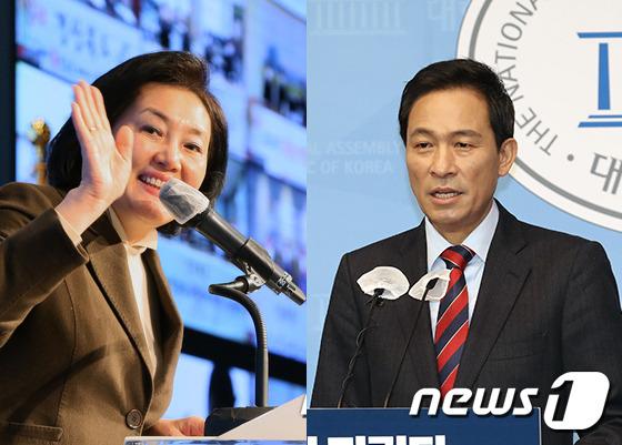 박영선 전 중소벤처기업부 장관(왼쪽)과 우상호 더불어민주당 의원. © 뉴스1