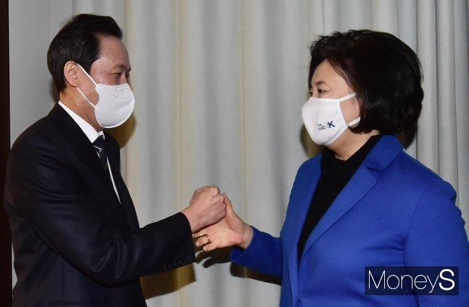[머니S포토] 우상호·박영선 '서울시장 맞대결'