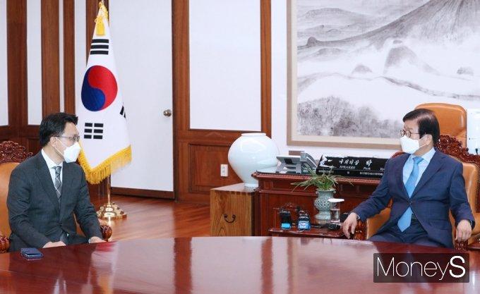[머니S포토] 국회 찾은 공수처 김진욱, 박병석 의장 만나...
