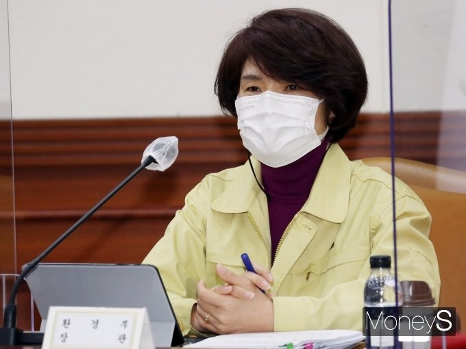 [머니S포토] 홍남기 부총리 발언 경청하는 한정애 환경부 장관