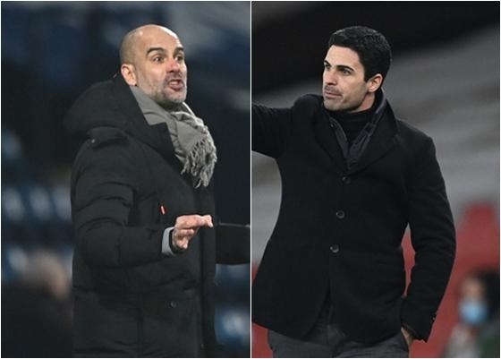 펩 과르디올라(왼쪽) 맨체스터 시티 감독과 미켈 아르테타 아스널 감독이 새해를 전후해 가장 좋은 분위기로 팀을 이끌고 있다. /사진=로이터