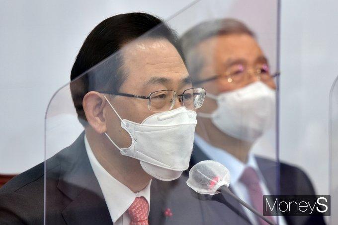 [머니S포토] 비대위서 발언하는 주호영 국민의힘 원내대표