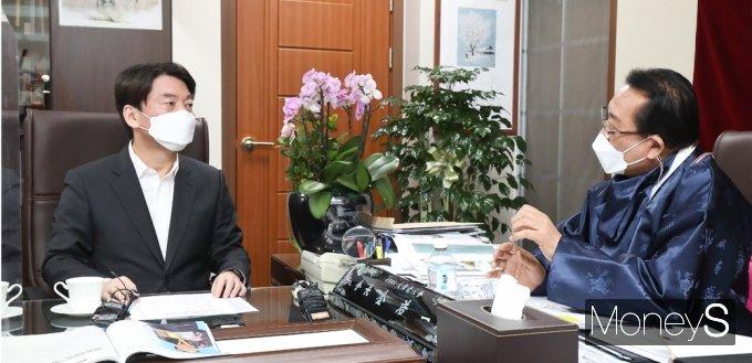 [머니S포토] 안철수, 코로나19 관련 노인회 목소리 경청