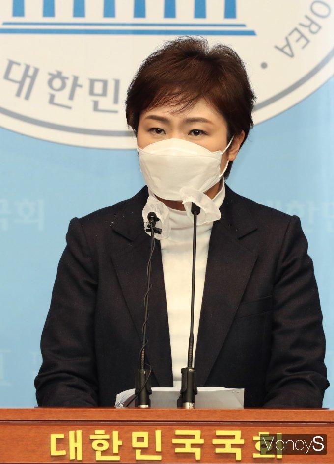 """[머니S포토] 이언주 """"가덕도 신공항 공개지지 안하면 불출마"""""""