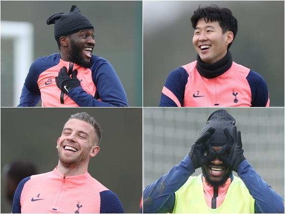 손흥민(오른쪽 위)을 포함한 토트넘 홋스퍼 선수들이 28일(한국시간) 영국 런던의 홋스퍼 웨이 훈련장에서 밝은 표정으로 팀훈련에 임하고 있다. /사진=토트넘 공식 트위터