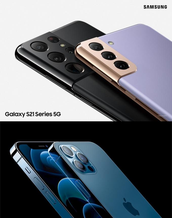 삼성 갤럭시S21(위)와 애플 아이폰12 /사진=각 사