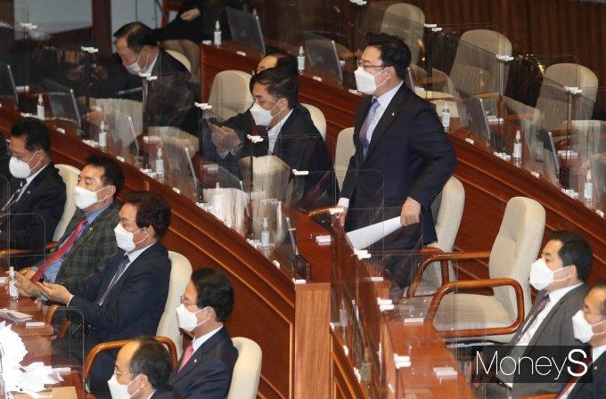[머니S포토] 국민의힘, 이낙연 민주당 대표 연설 항의