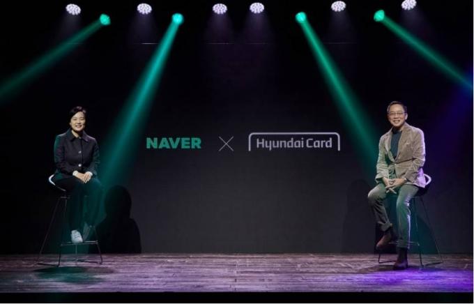 정태영(오른쪽) 현대카드 부회장과 한성숙 네이버 대표가 지난 1일 서울 용산구 현대카드 언더스테이지에서 열린 협약식에 참석했다./사진=현대카드