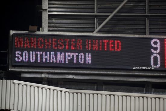 맨체스터 유나이티드가 3일(한국시간) 영국 맨체스터의 올드 트래포드에서 열린 2020-2021 잉글랜드 프리미어리그 22라운드 사우스햄튼과의 경기에서 9-0 대승을 거뒀다. /사진=로이터