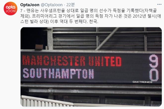 맨체스터 유나이티드는 3일(한국시간) 열린 사우스햄튼전을 통해 지난 2012년 첼시에 이어 프리미어리그 역대 두번째로 한경기에서 7명 이상이 득점을 올리는 진기록을 달성했다. /사진=옵타 트위터 캡처