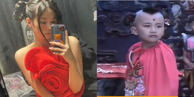 중국의 동북공정이 역사 왜곡을 넘어 연예계와 게임계까지 번지고 있다. 사진은 일부 중국 누리꾼들이 중국 문화를 표절했다고 주장하는 제니의 의상(왼쪽)과 훙하이얼. /사진=제니 인스타그램 캡처, 웨이보 캡처