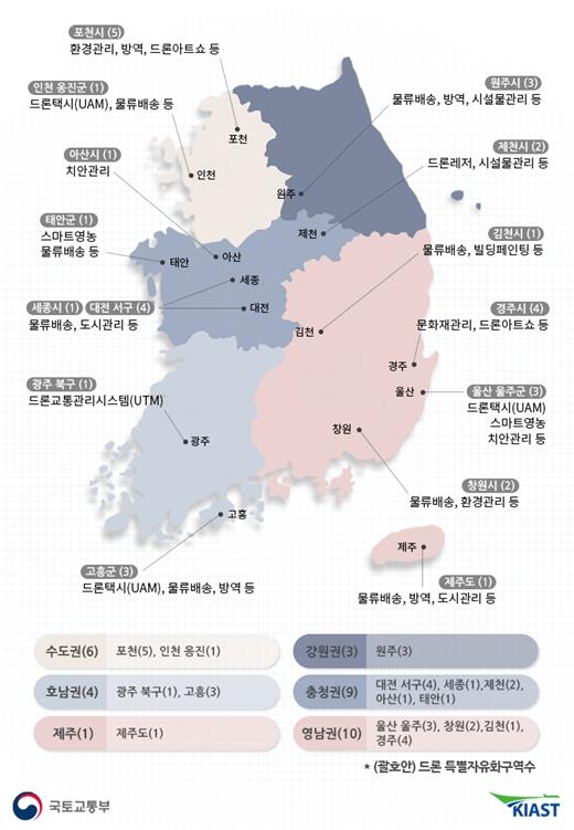 국토교통부는 전국 15개 지자체의 33개 구역을 '드론법'에 따른 드론 전용 규제특구인 '드론 특별자유화구역'으로 지정했다. /사진제공=국토교통부