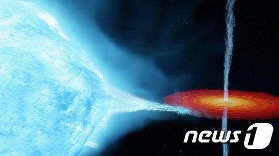 인류 최초로 발견한 블랙홀 백조자리 X-1이 당초 알려진 것보다 지구로부터 더 멀고 질량도 더 무겁다는 연구 결과가 나왔다. 사진은 백조자리 X-1 쌍성계 상상도. /사진=뉴스1(국제전파천문연구센터 제공)
