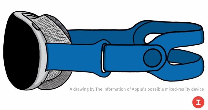 애플이 이르면 내년 1분기 선보일 MR헤드셋 예상도. 두 개의 8K 디스플레이와 12개 이상 카메라가 탑재될 전망이다. /사진=디인포메이션
