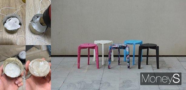 대학생 김하늘씨는 폐마스크를 녹여 의자를 만들었다. /사진=김하늘씨 제공