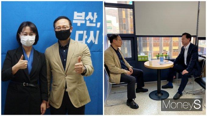 주말동안 부산에서 보궐선거 후보자들을 직접 만나 독려한 홍영표 의원,/사진=박비주안 기자