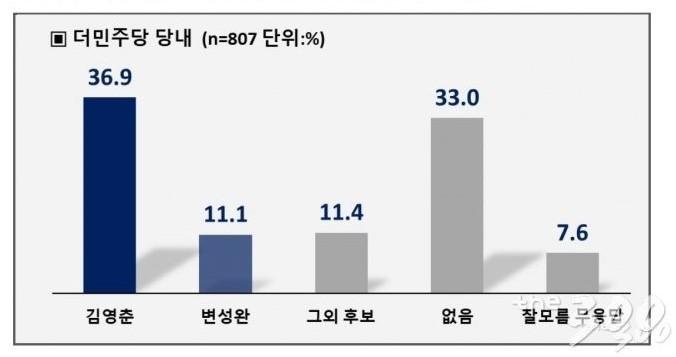 더불어민주당 지지자 가운데 76.8%는 김영춘 예비후보를, 10.2%는 변성완 예비후보를 지지했다. /그래프=머니투데이(PNR ㈜피플네트웍스)