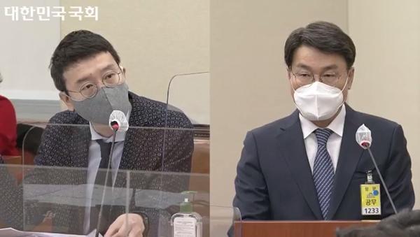최정우 포스코 회장(오른쪽)이 22일 국회 환경노동위원회 산재 청문회에서 김웅 국민의힘 의원의 질의를 듣고 있다. /사진=인터넷의사중계시스템 캡처