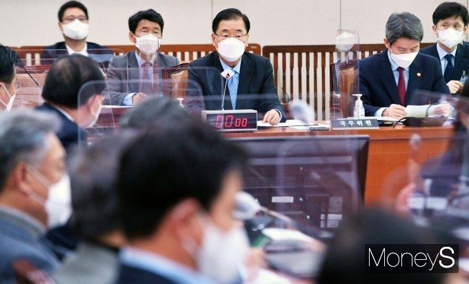 [머니S포토] 국회 외통위, 발언하는 정의용 장관