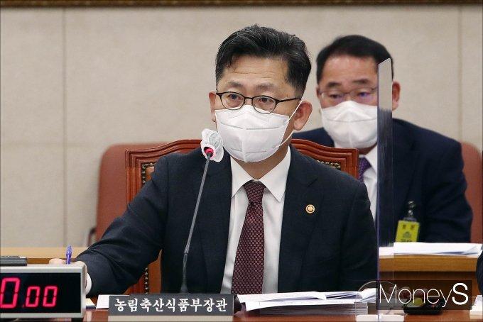 [머니S포토] 농해수위 전체회의, 질의 답하는 김현수 장관