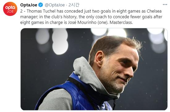 토마스 투헬 첼시 감독은 지난 2004년 조제 모리뉴 감독에 이어 첫 8경기에서 가장 적은 실점을 기록한 감독이 됐다. /사진=옵타 트위터 캡처