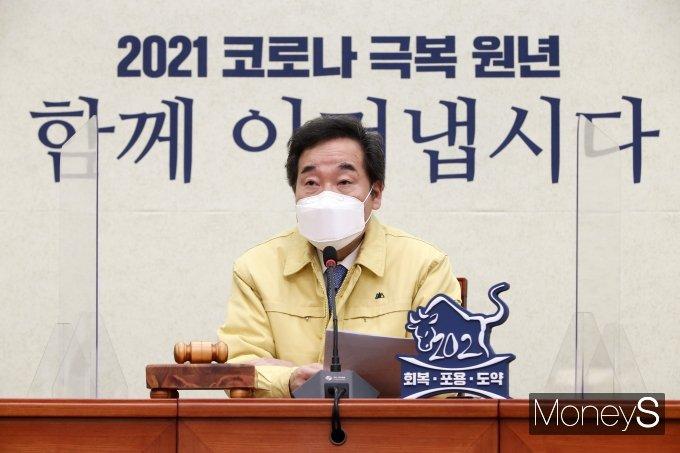 이낙연 더불어민주당 대표가 가덕도신공항을 2030 부산 세계박람회 전에 개항하겠다고 밝혔다. 사진은 이 대표가 지난 19일 오전 서울 여의도 국회에서 열린 최고위원회의에서 발언하는 모습. /사진=장동규 기자