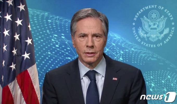 토니 블링컨 미국 국무장관이 24일 유엔 인권이사회 연설에서 북한 인권결의안에 대한 국제사회의 지지를 촉구했다. © AFP=뉴스1