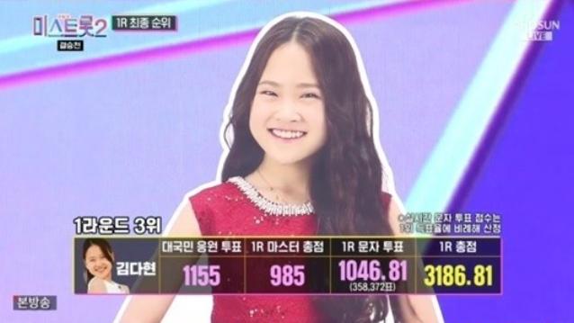 트로트 가수 김다현이 실시간 문자투표를 통해 마스터점수 결과를 뒤집고 결승전 1라운드 3위를 차지했다. /사진=TV조선 '미스트롯2' 방송화면 캡처