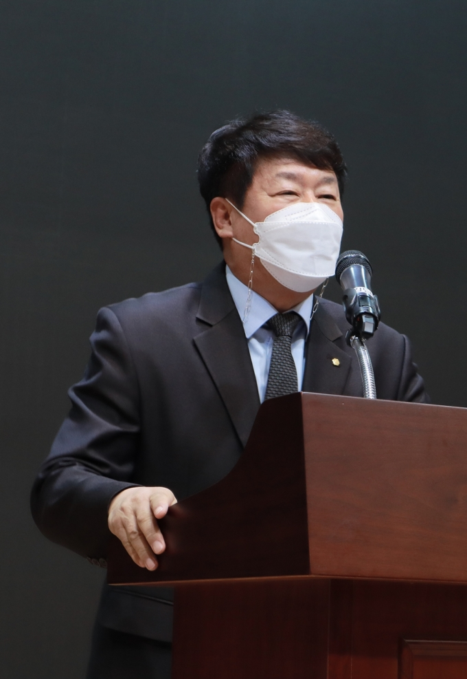 김윤식 신협중앙회장이 26일 제48차 정기대의원회에서 기념사를 하고 있다. /사진=신협중앙회
